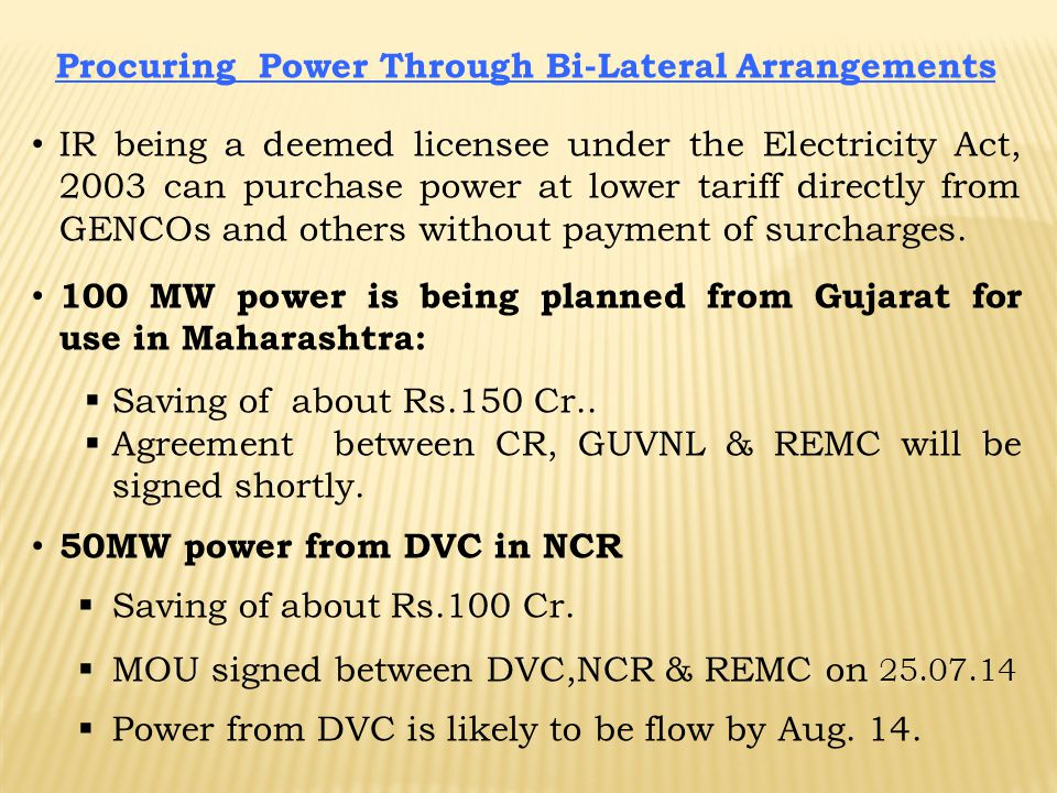 Procuring Power Through Bi-Lateral Arrangements IR being a deemed licensee under the Electricity Act, 2003 can purchase power at lower tariff directly