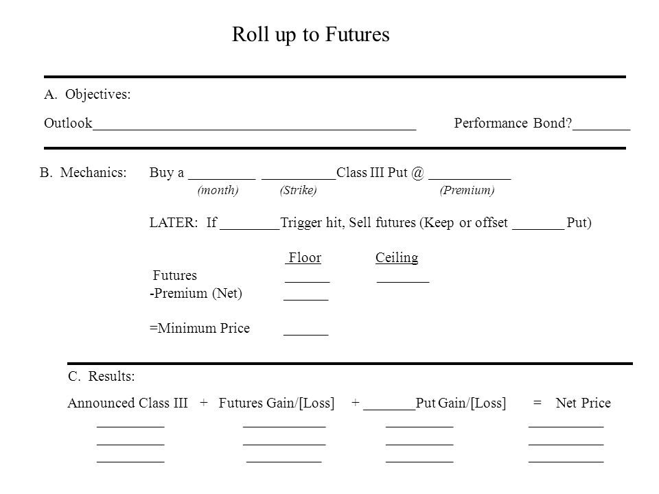 Roll up to Futures A. Objectives: Outlook____________________________________________ Performance Bond?________ B. Mechanics:Buy a _________ _________