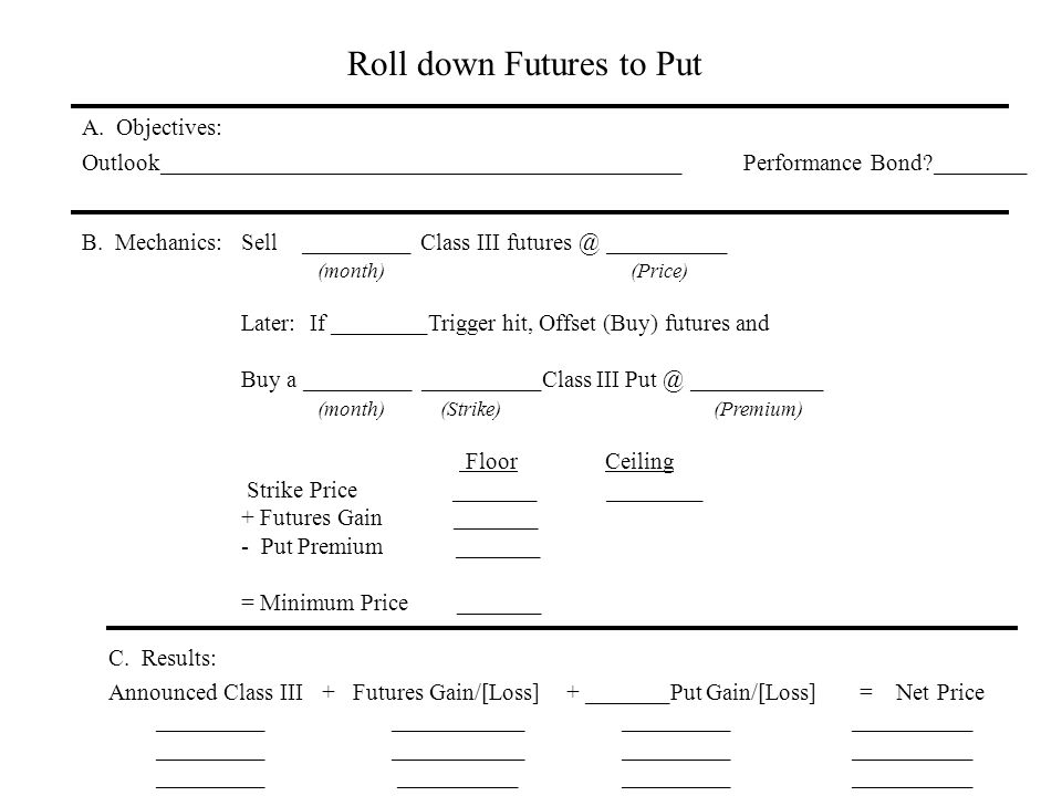 Roll down Futures to Put A. Objectives: Outlook____________________________________________ Performance Bond?________ B. Mechanics:Sell _________ Clas