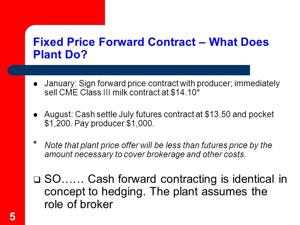 6 Minimum Price Forward Contracts Offer a set of minimum prices for a given month and associated producer charges per Cwt.