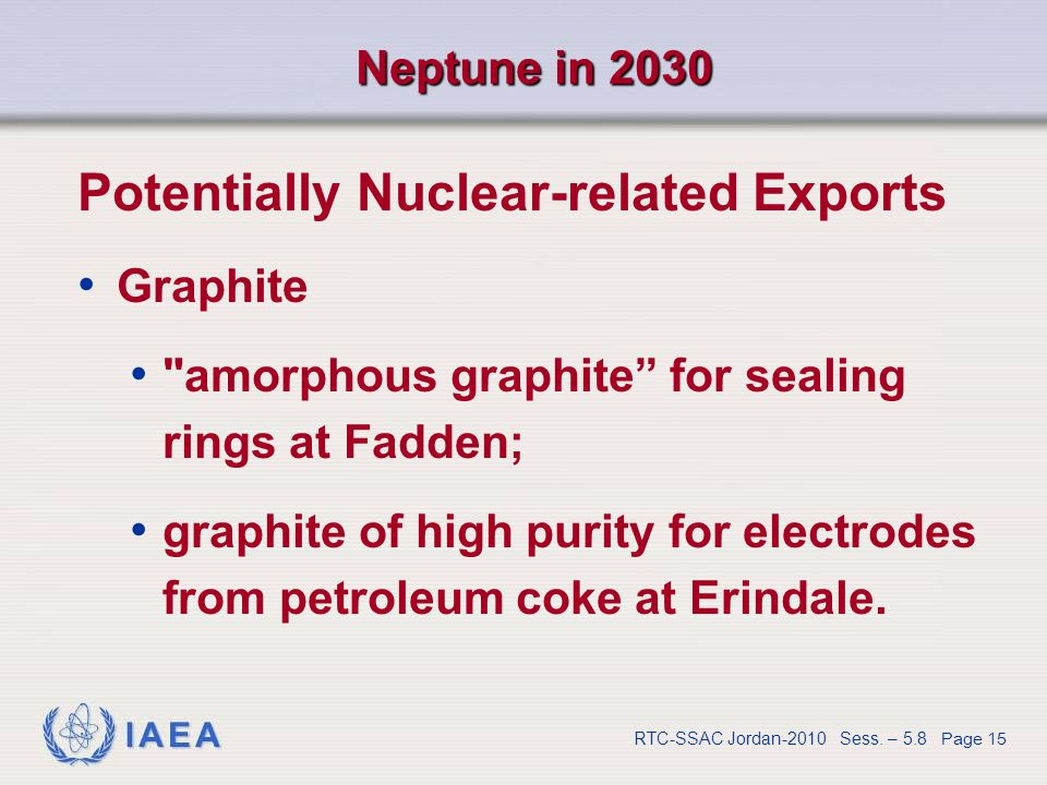 IAEA RTC-SSAC Jordan-2010 Sess. – 5.8 Page 15 Neptune in 2030 Potentially Nuclear-related Exports Graphite