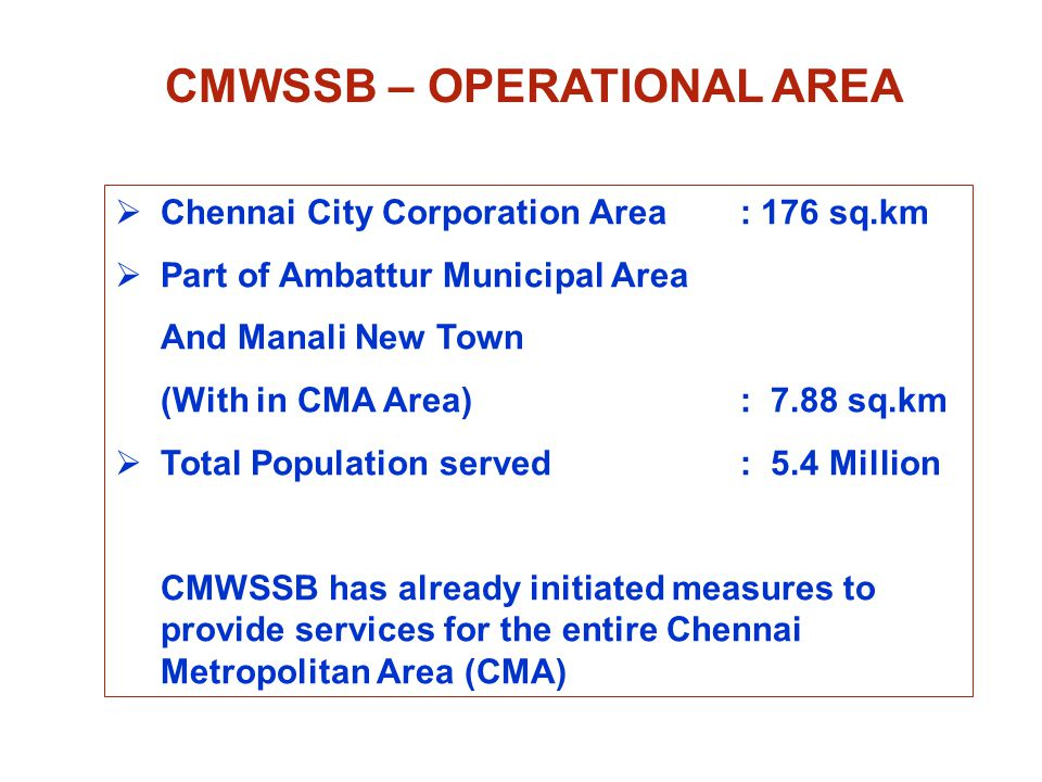 CHENNAI CITY WATER SUPPLY