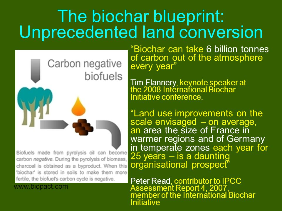 """The biochar blueprint: Unprecedented land conversion www.biopact.com """"Biochar can take 6 billion tonnes of carbon out of the atmosphere every year"""" Ti"""