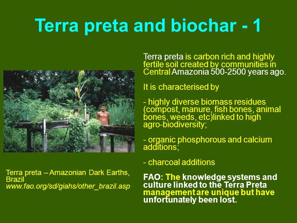 Terra preta and biochar - 1 Terra preta – Amazonian Dark Earths, Brazil www.fao.org/sd/giahs/other_brazil.asp Terra preta is carbon rich and highly fe