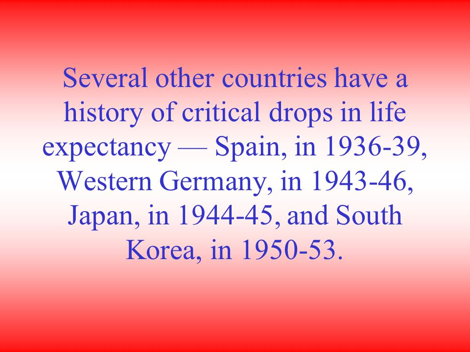Several other countries have a history of critical drops in life expectancy — Spain, in 1936-39, Western Germany, in 1943-46, Japan, in 1944-45, and South Korea, in 1950-53.