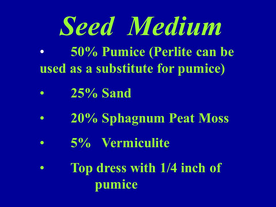 Seed Medium 50% Pumice (Perlite can be used as a substitute for pumice) 25% Sand 20% Sphagnum Peat Moss 5% Vermiculite Top dress with 1/4 inch of pumi