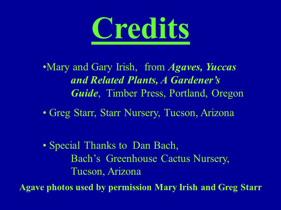 Credits Mary and Gary Irish, from Agaves, Yuccas and Related Plants, A Gardener's Guide, Timber Press, Portland, Oregon Greg Starr, Starr Nursery, Tuc