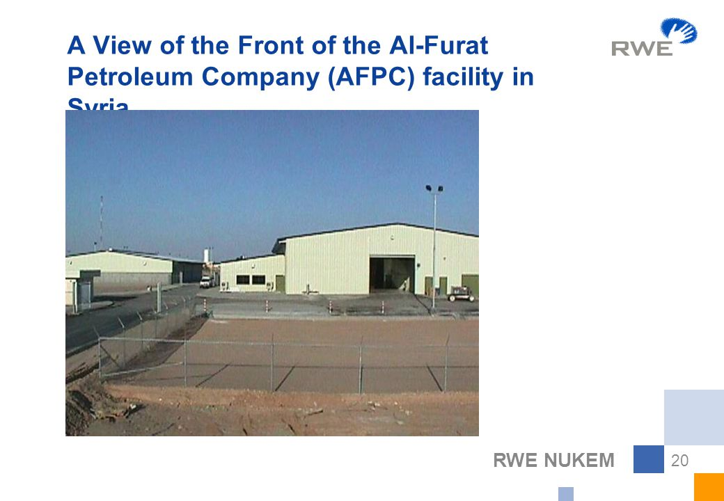 RWE NUKEM 20 A View of the Front of the Al-Furat Petroleum Company (AFPC) facility in Syria