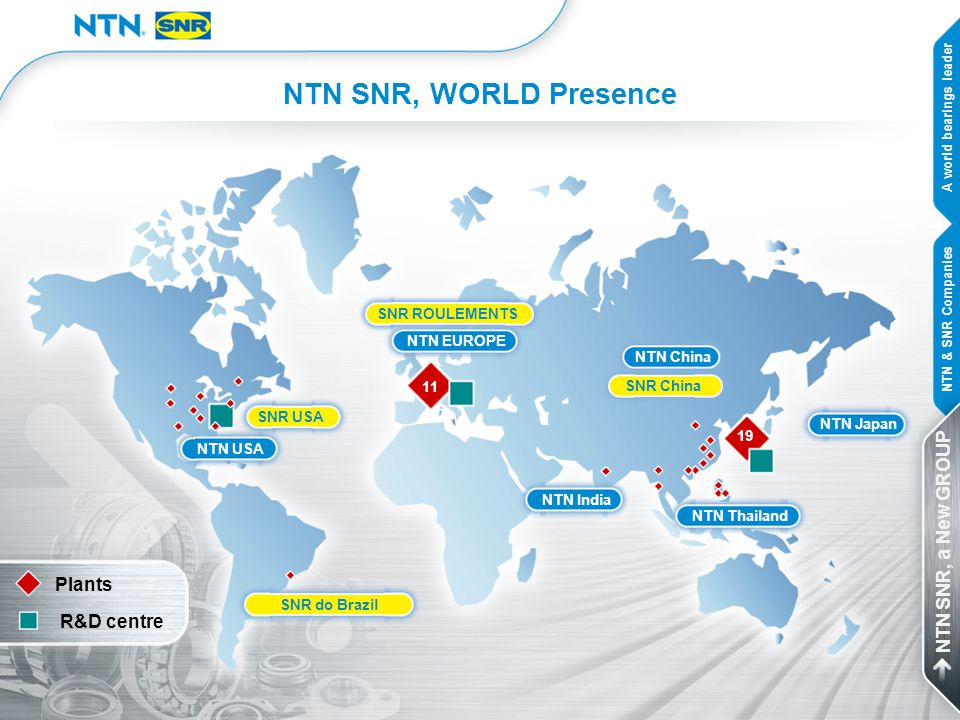 NTN SNR, WORLD Presence NTN EUROPE NTN India NTN China NTN Thailand NTN Japan NTN USA SNR China SNR ROULEMENTS SNR USA SNR do Brazil Plants R&D centre