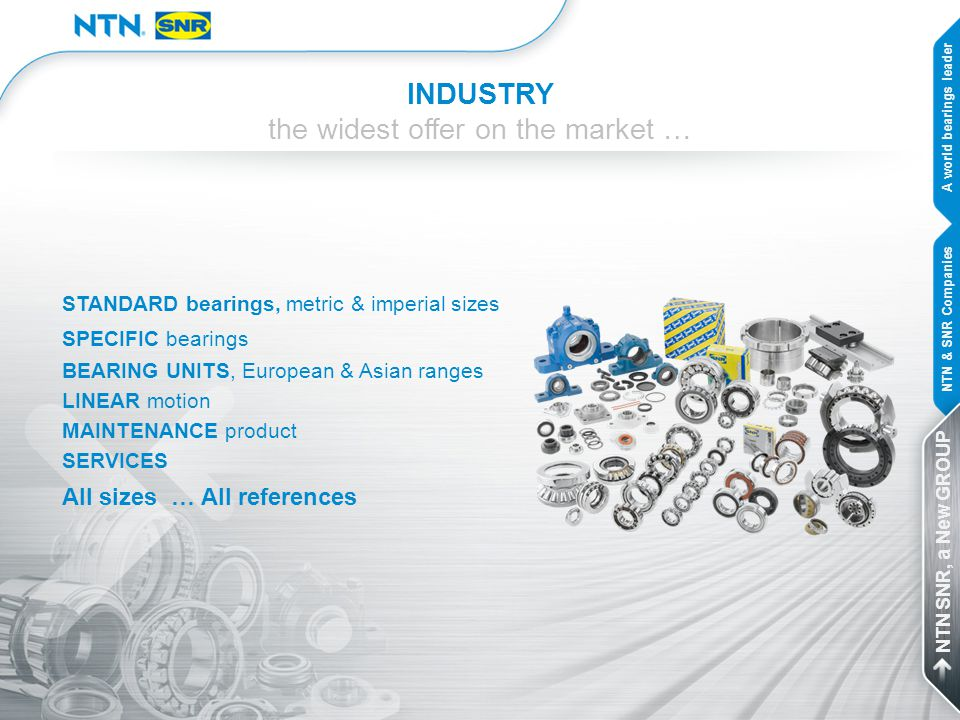 INDUSTRY the widest offer on the market … STANDARD bearings, metric & imperial sizes SPECIFIC bearings BEARING UNITS, European & Asian ranges LINEAR m