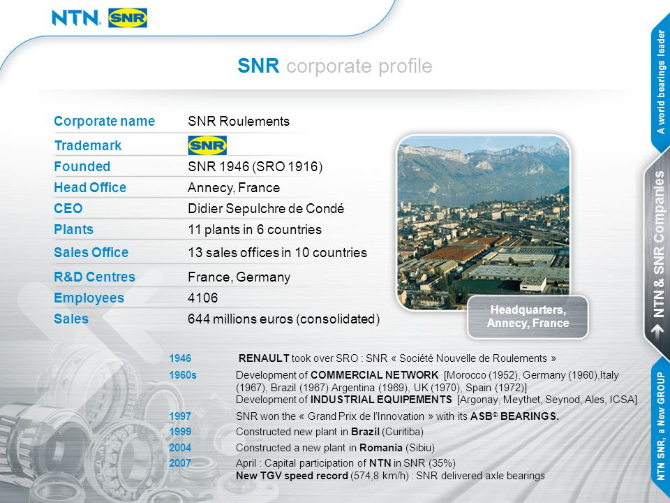 NTN & SNR One group in Europe … … for enhanced customer benefits A world bearings leader NTN & SNR Companies NTN SNR, a New GROUP KEY POINTS of the new group: combining the best to reach a new level of customer satisfaction capitalising on the complementarities of the two companies developing the two brands NTN and SNR
