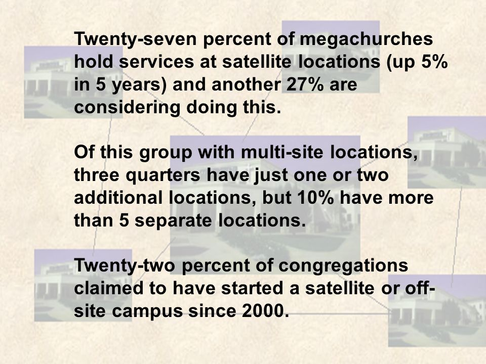Twenty-seven percent of megachurches hold services at satellite locations (up 5% in 5 years) and another 27% are considering doing this.