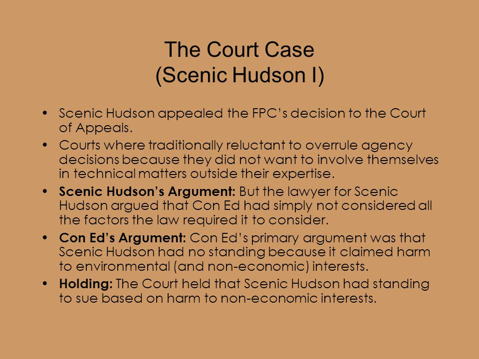 The Court Case (Scenic Hudson I) Scenic Hudson appealed the FPC's decision to the Court of Appeals.