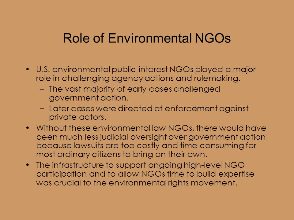Role of Environmental NGOs U.S.
