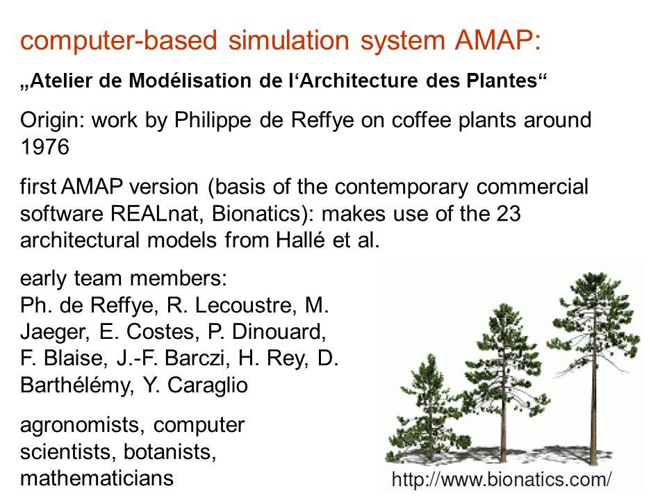 "computer-based simulation system AMAP: ""Atelier de Modélisation de l'Architecture des Plantes Origin: work by Philippe de Reffye on coffee plants around 1976 first AMAP version (basis of the contemporary commercial software REALnat, Bionatics): makes use of the 23 architectural models from Hallé et al."