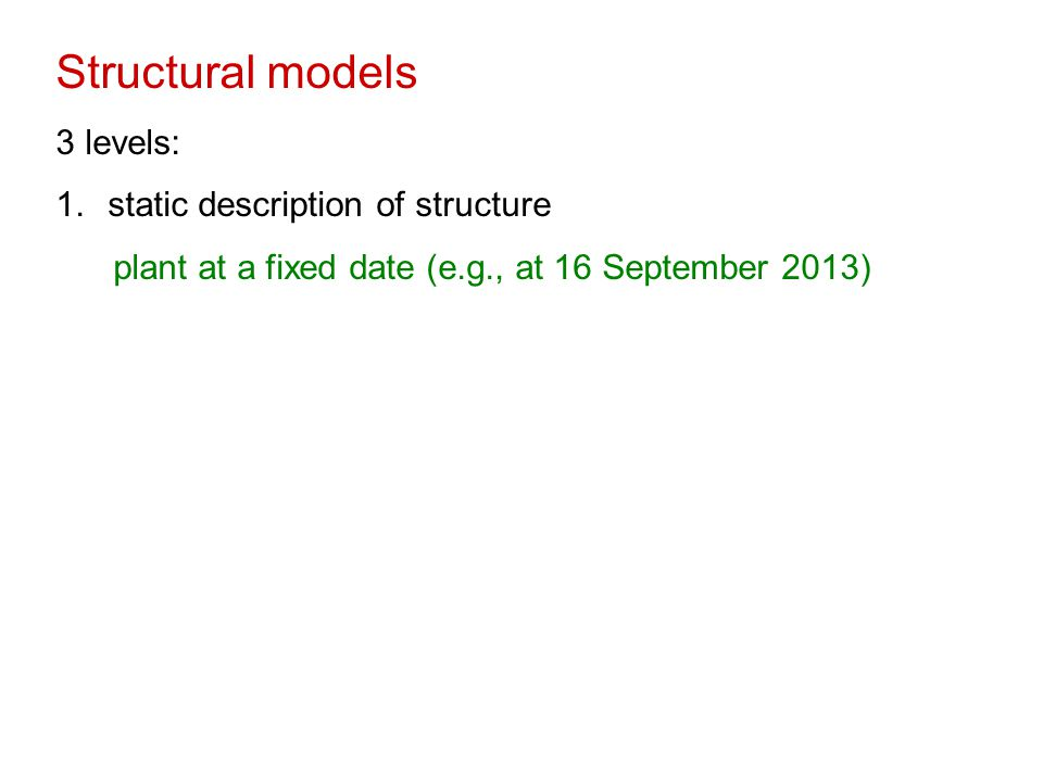 Structural models 3 levels: 1.static description of structure plant at a fixed date (e.g., at 16 September 2013)