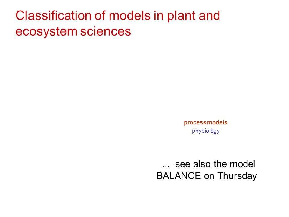 Classification of models in plant and ecosystem sciences process models physiology... see also the model BALANCE on Thursday