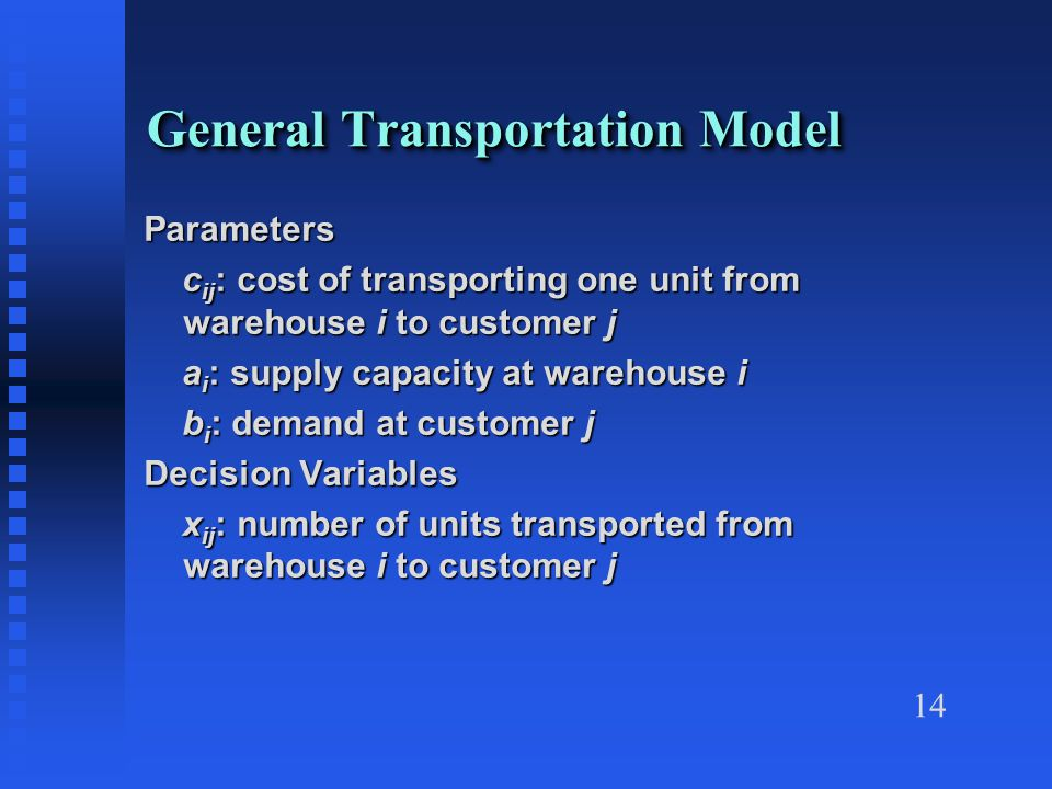 14 General Transportation Model Parameters c ij : cost of transporting one unit from warehouse i to customer j c ij : cost of transporting one unit from warehouse i to customer j a i : supply capacity at warehouse i a i : supply capacity at warehouse i b i : demand at customer j b i : demand at customer j Decision Variables x ij : number of units transported from warehouse i to customer j x ij : number of units transported from warehouse i to customer j