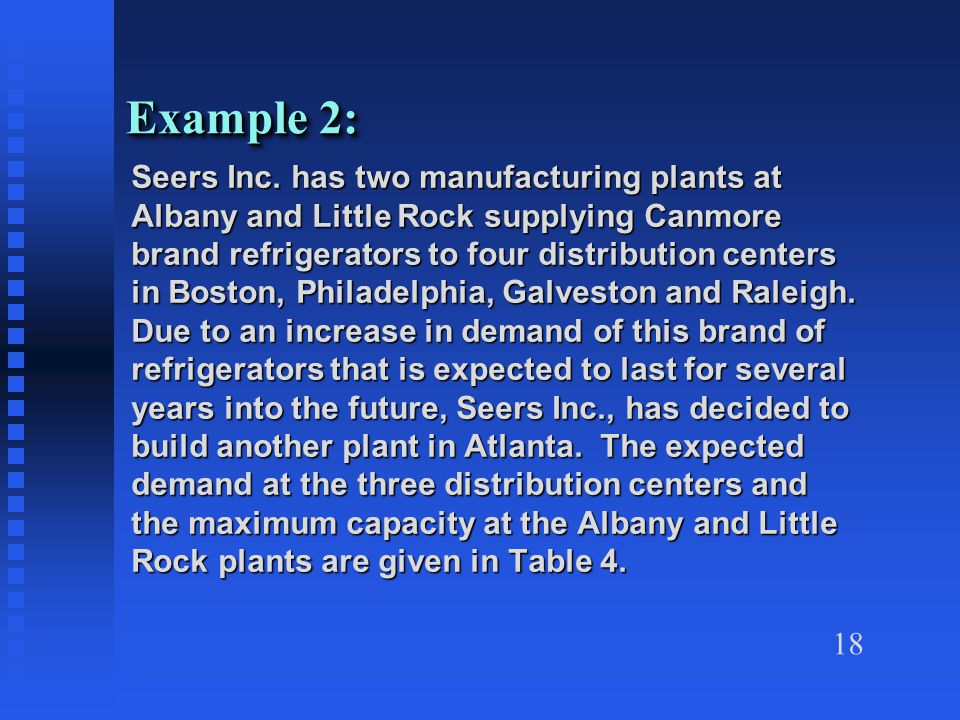 18 Example 2: Seers Inc.
