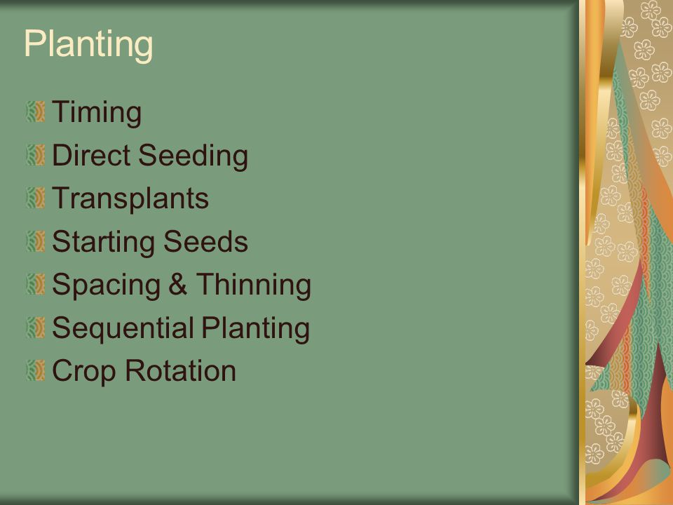 Planting Timing Direct Seeding Transplants Starting Seeds Spacing & Thinning Sequential Planting Crop Rotation