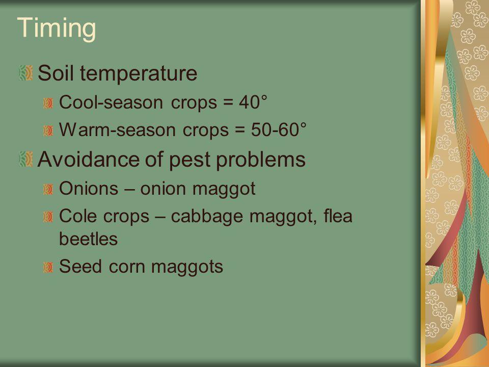 Timing Soil temperature Cool-season crops = 40° Warm-season crops = 50-60° Avoidance of pest problems Onions – onion maggot Cole crops – cabbage maggot, flea beetles Seed corn maggots