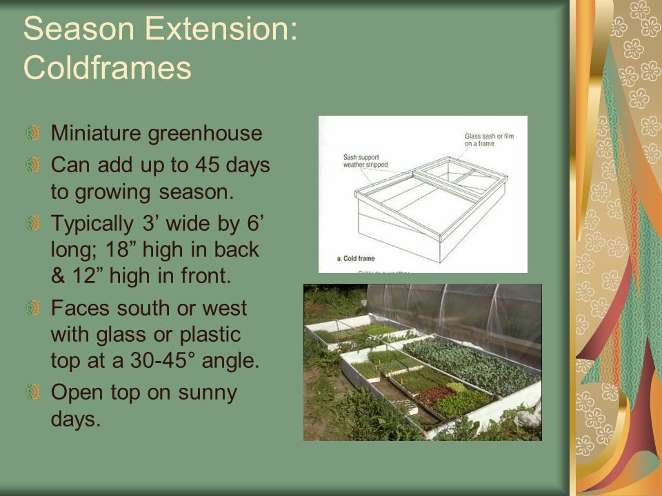 """Season Extension: Coldframes Miniature greenhouse Can add up to 45 days to growing season. Typically 3' wide by 6' long; 18"""" high in back & 12"""" high i"""