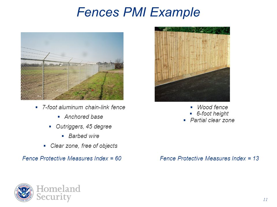  7-foot aluminum chain-link fence  Anchored base  Outriggers, 45 degree  Barbed wire  Clear zone, free of objects Fence Protective Measures Index