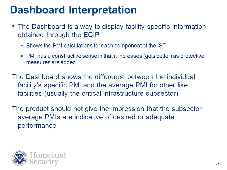 Dashboard Interpretation  The Dashboard is a way to display facility-specific information obtained through the ECIP  Shows the PMI calculations for