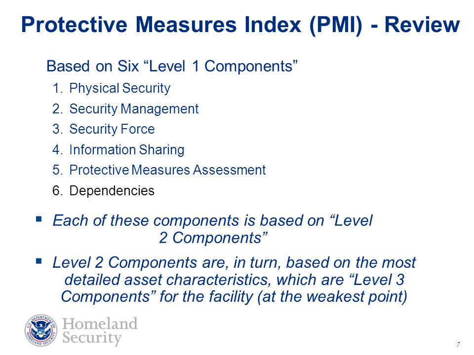 "Protective Measures Index (PMI) - Review Based on Six ""Level 1 Components"" 1.Physical Security 2.Security Management 3.Security Force 4.Information Sh"