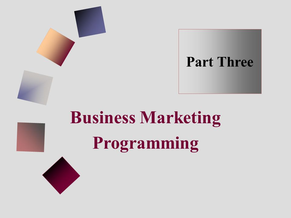 Business Marketing Programming Part Three
