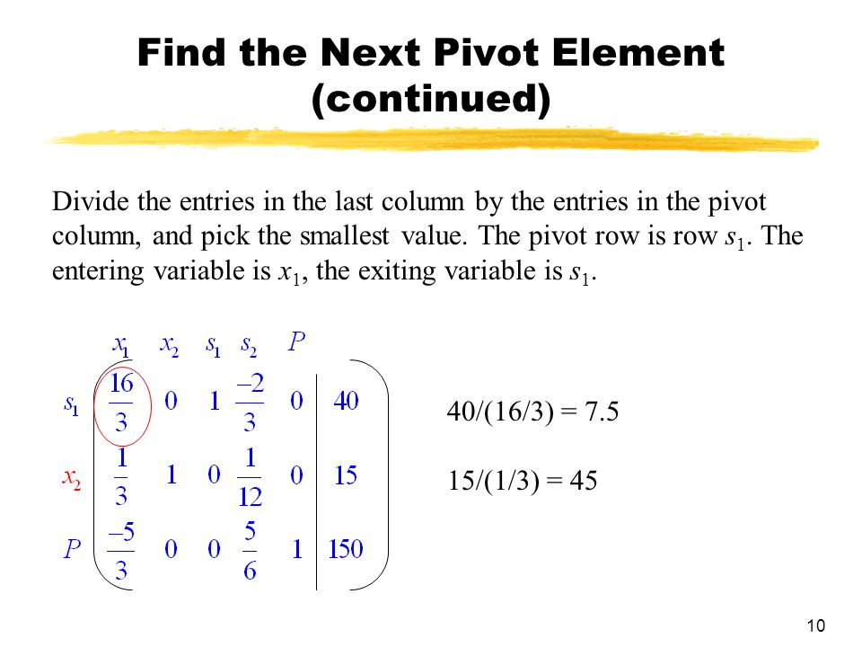 10 Find the Next Pivot Element (continued) Divide the entries in the last column by the entries in the pivot column, and pick the smallest value. The