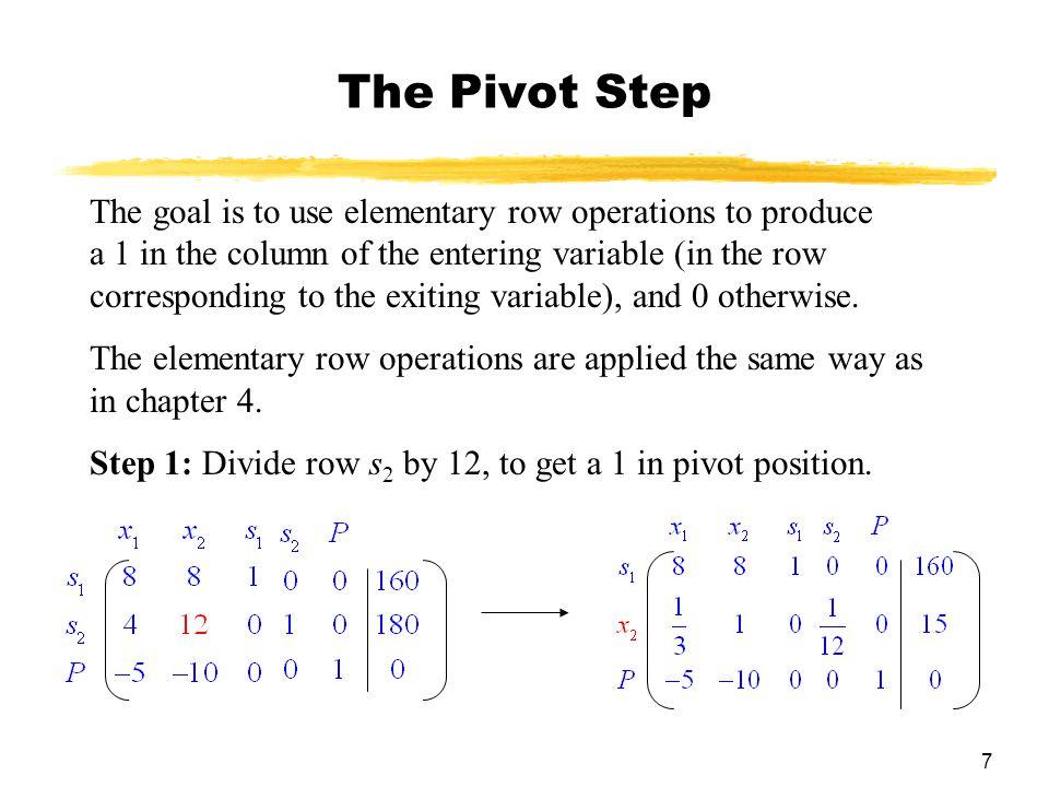 18 Selecting the Pivot Element 3.The pivot (or pivot element) is the element in the intersection of the pivot column and pivot row.