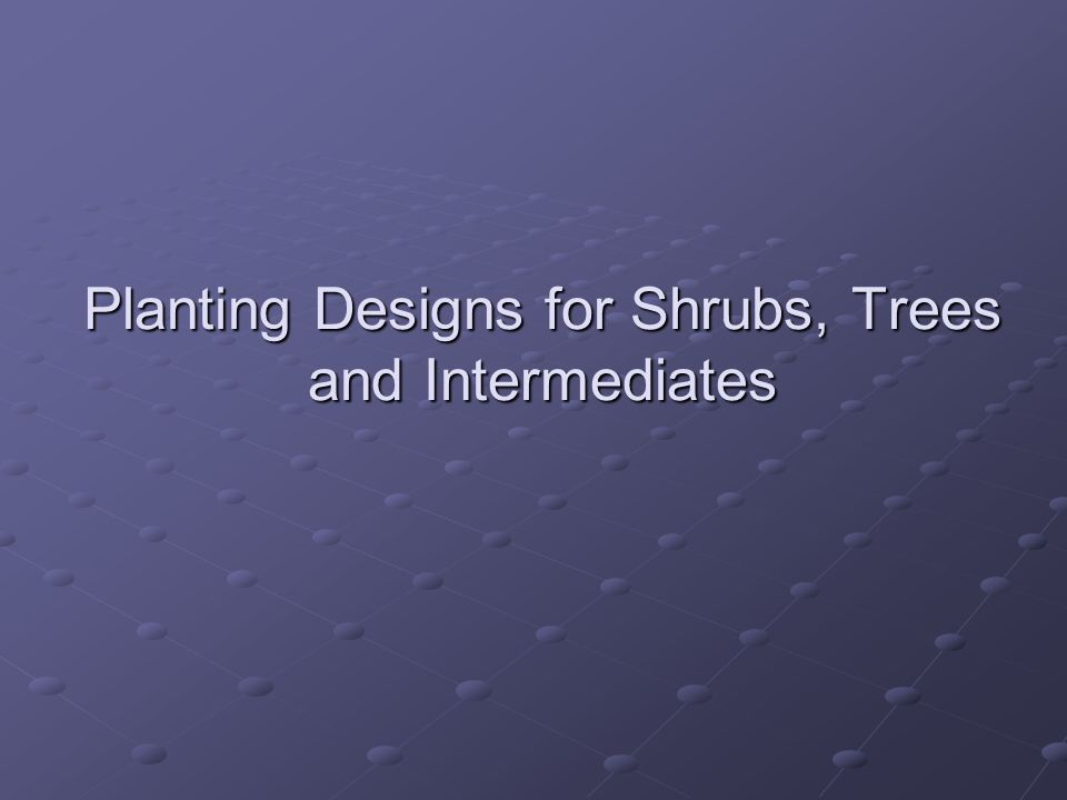 Planting Designs for Shrubs, Trees and Intermediates