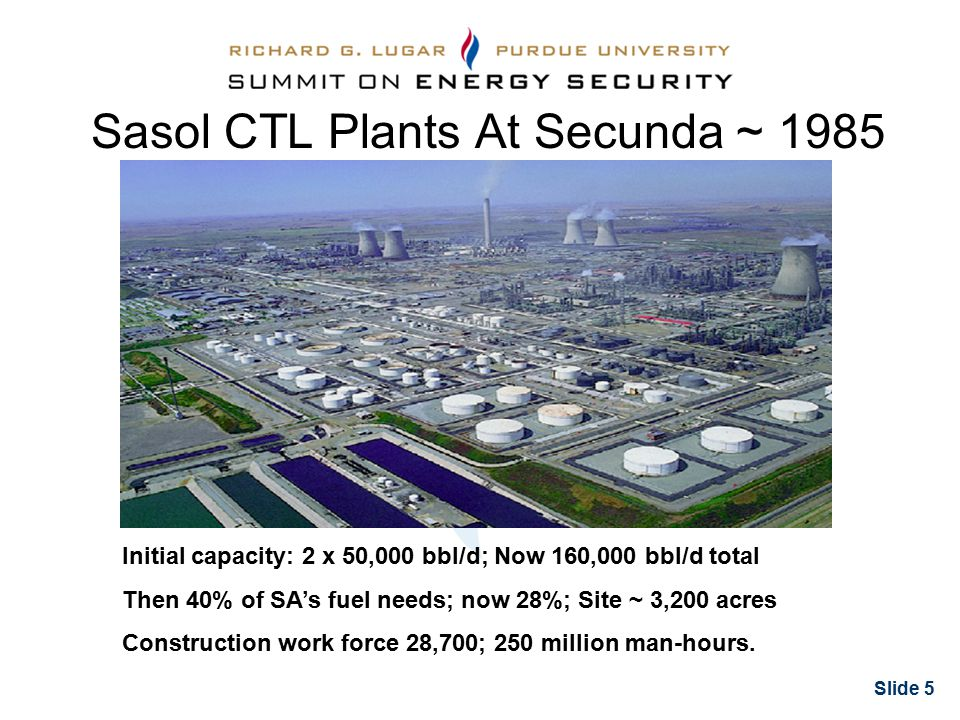 Slide 5 Sasol CTL Plants At Secunda ~ 1985 Initial capacity: 2 x 50,000 bbl/d; Now 160,000 bbl/d total Then 40% of SA's fuel needs; now 28%; Site ~ 3,200 acres Construction work force 28,700; 250 million man-hours.