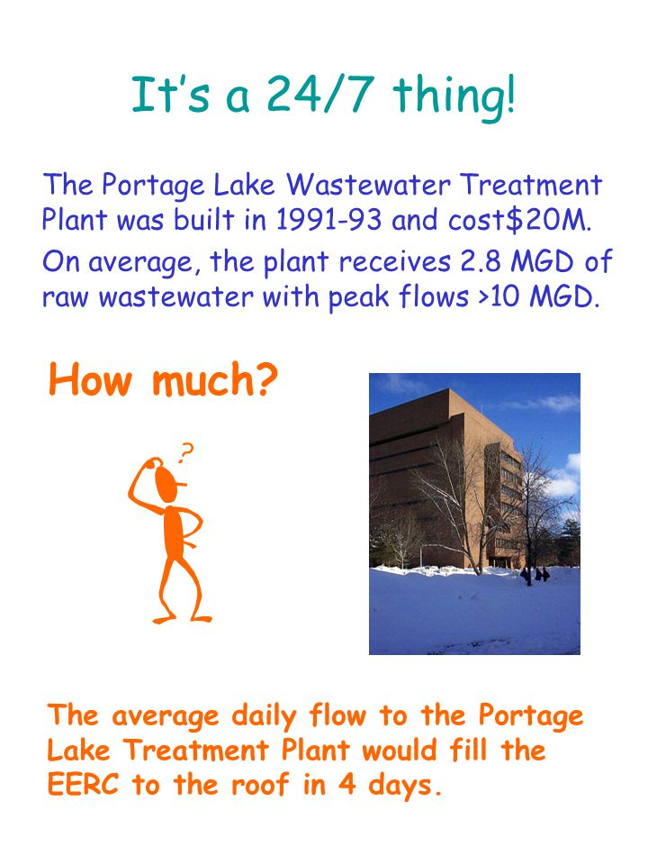 It's a 24/7 thing. The Portage Lake Wastewater Treatment Plant was built in 1991-93 and cost$20M.