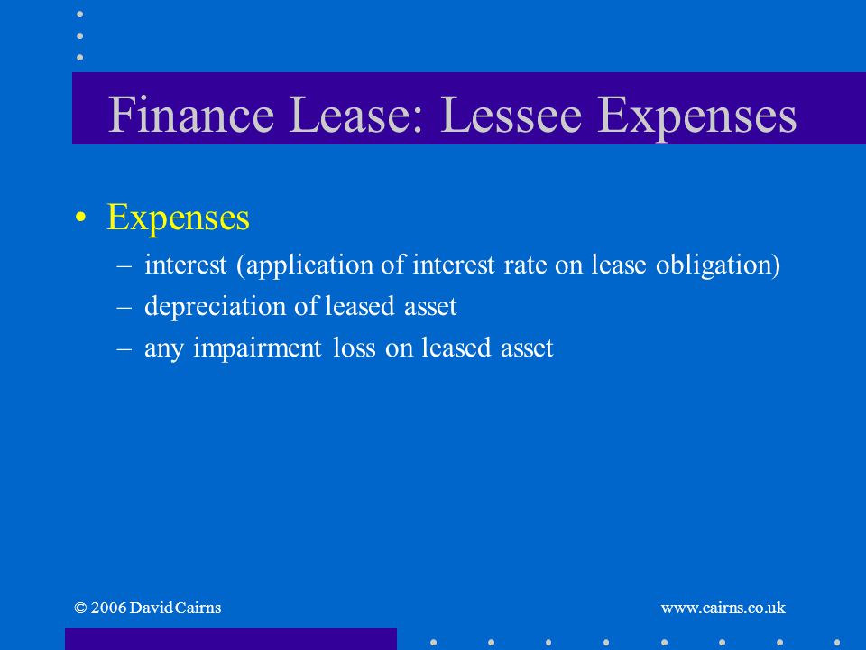 © 2006 David Cairns www.cairns.co.uk Finance Lease: Lessee Expenses Expenses –interest (application of interest rate on lease obligation) –depreciatio
