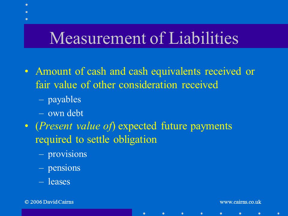 © 2006 David Cairns www.cairns.co.uk Measurement of Liabilities Amount of cash and cash equivalents received or fair value of other consideration rece