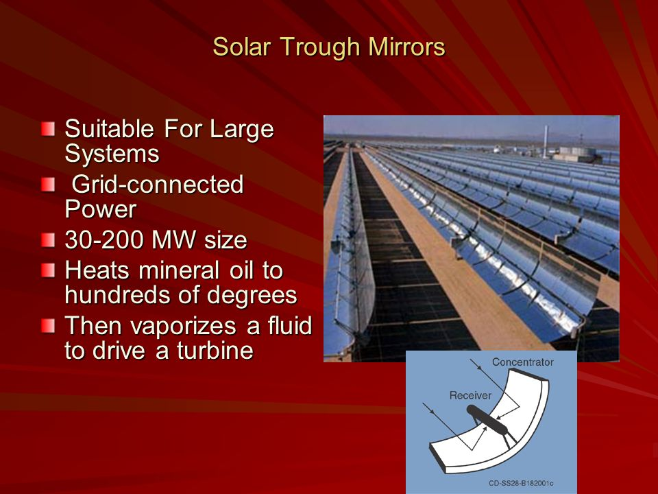 Solar Trough Mirrors Suitable For Large Systems Grid-connected Power Grid-connected Power 30-200 MW size Heats mineral oil to hundreds of degrees Then vaporizes a fluid to drive a turbine
