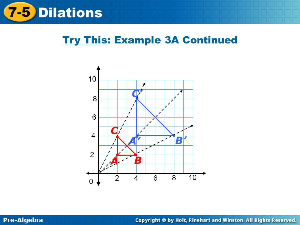 Pre-Algebra 7-5 Dilations Try This: Example 3A Continued 2 4 2 46 8 10 0 6 8 B' C' A' B C A