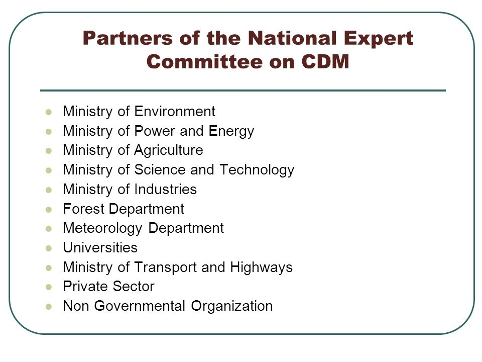 Partners of the National Expert Committee on CDM Ministry of Environment Ministry of Power and Energy Ministry of Agriculture Ministry of Science and