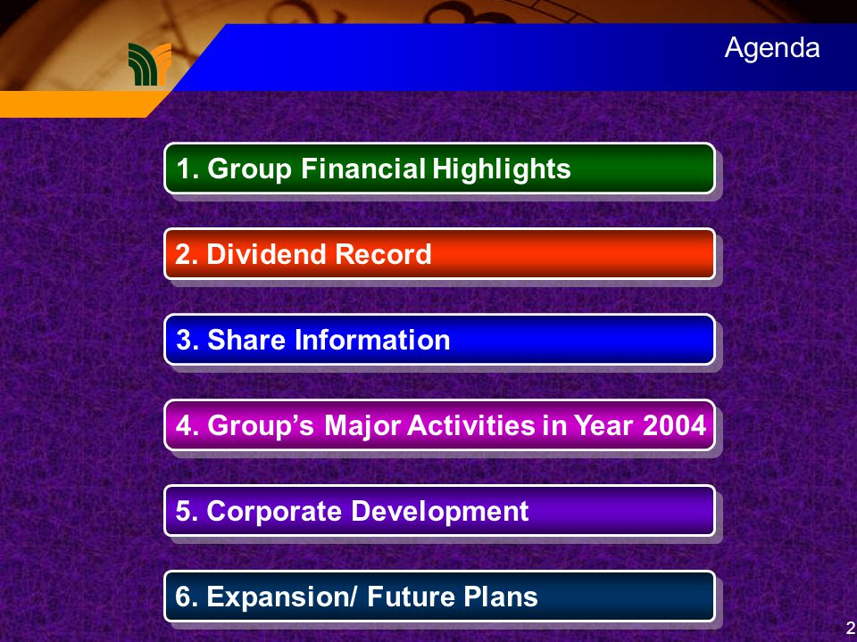 2 Agenda 1. Group Financial Highlights 2. Dividend Record 3.