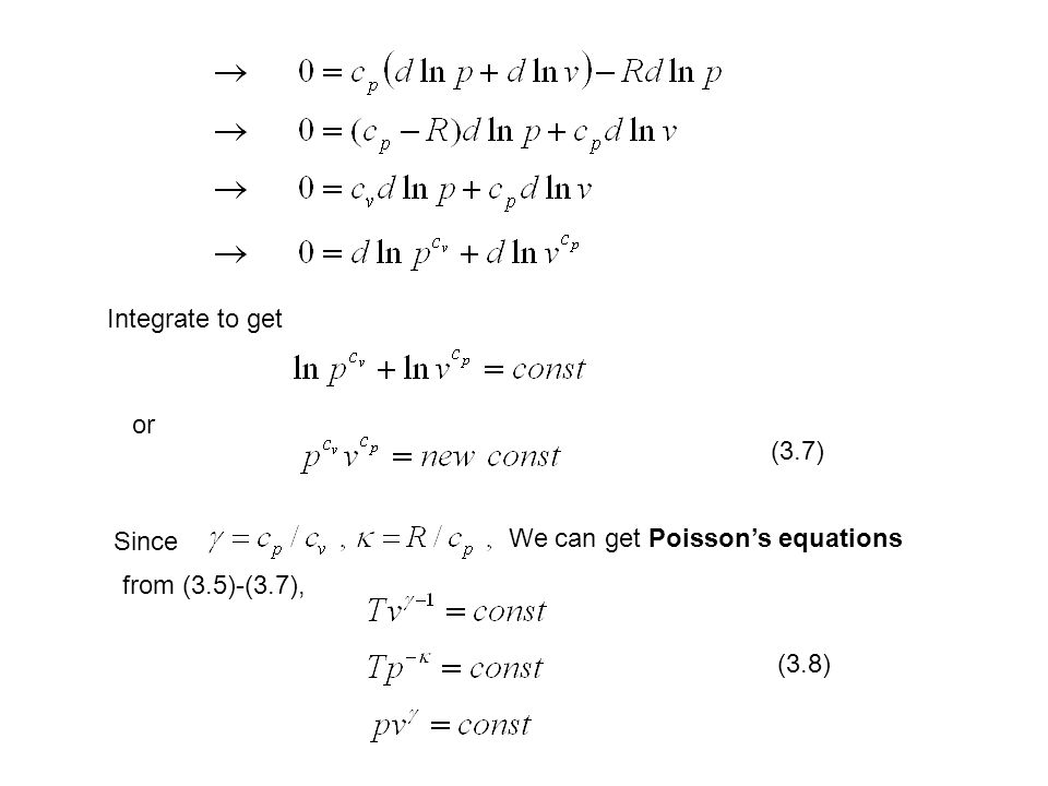 Integrate to get or (3.7) Since We can get Poisson's equations from (3.5)-(3.7), (3.8)