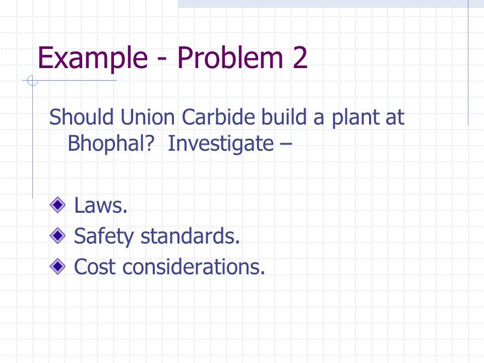 Example - Problem 2 Should Union Carbide build a plant at Bhophal.