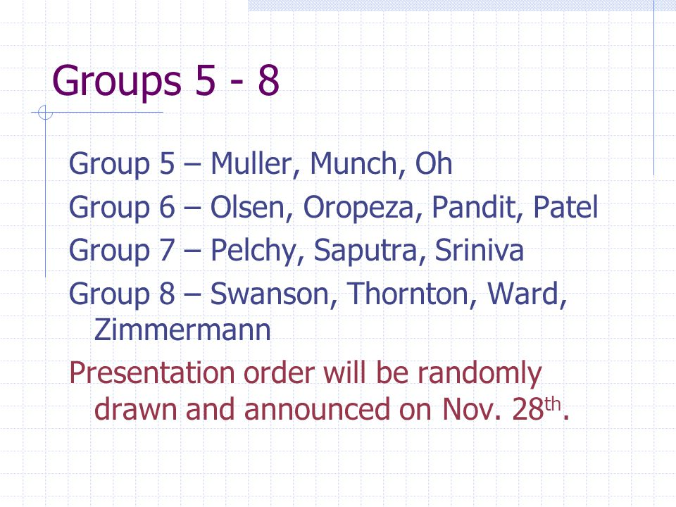 Groups 5 - 8 Group 5 – Muller, Munch, Oh Group 6 – Olsen, Oropeza, Pandit, Patel Group 7 – Pelchy, Saputra, Sriniva Group 8 – Swanson, Thornton, Ward, Zimmermann Presentation order will be randomly drawn and announced on Nov.
