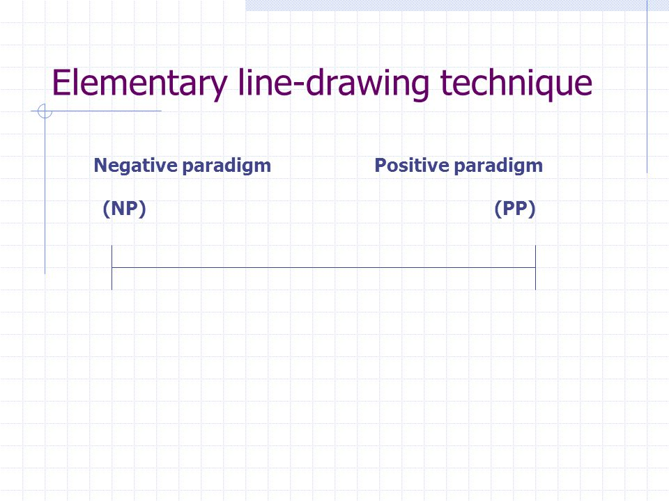 Elementary line-drawing technique Negative paradigm Positive paradigm (NP) (PP)