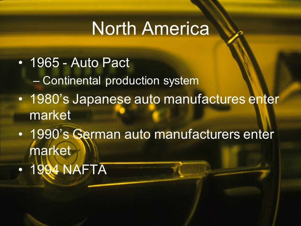 North America 1965 - Auto Pact –Continental production system 1980's Japanese auto manufactures enter market 1990's German auto manufacturers enter ma