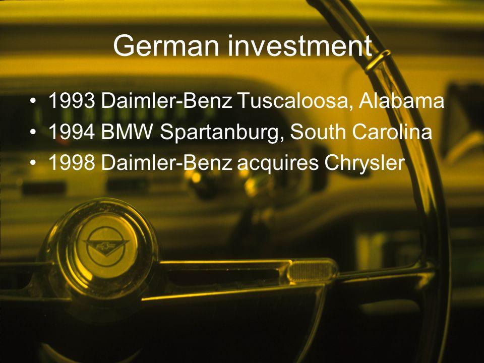 German investment 1993 Daimler-Benz Tuscaloosa, Alabama 1994 BMW Spartanburg, South Carolina 1998 Daimler-Benz acquires Chrysler