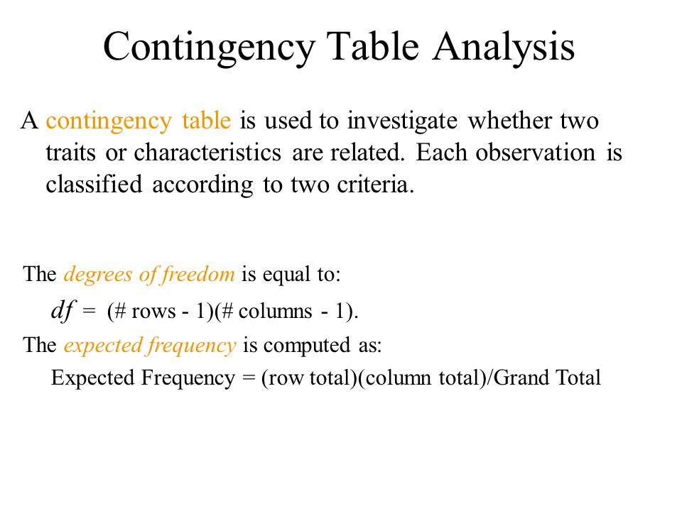 Contingency Table Analysis A contingency table is used to investigate whether two traits or characteristics are related.