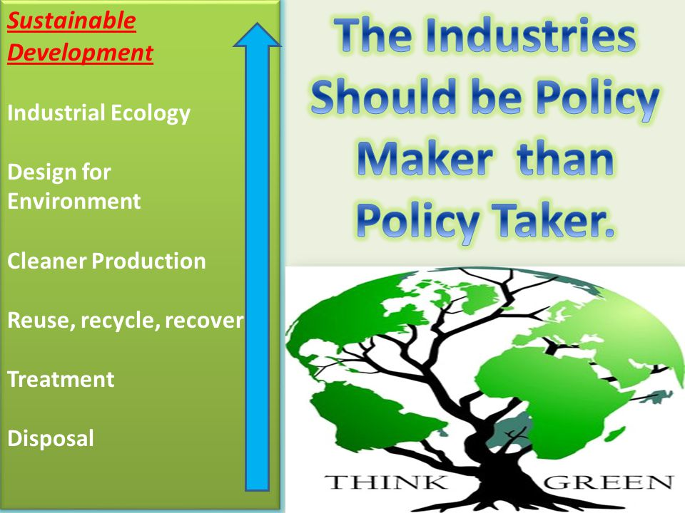 Sustainable Developmen t Industrial Ecology Design for Environment Cleaner Production Reuse, recycle, recover Treatment Disposal Sustainable Developmen t Industrial Ecology Design for Environment Cleaner Production Reuse, recycle, recover Treatment Disposal