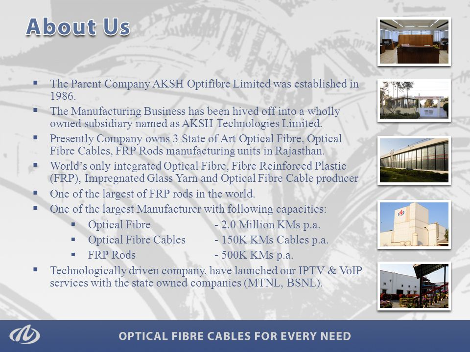  The Parent Company AKSH Optifibre Limited was established in 1986.